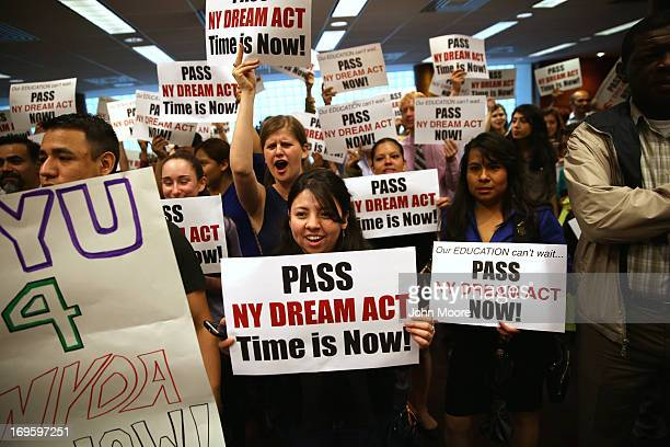 Demonstrators voice support for the New York State Dream Act at a rally held at CUNY Baruch College on May 28 2013 in New York City Supporters of the...