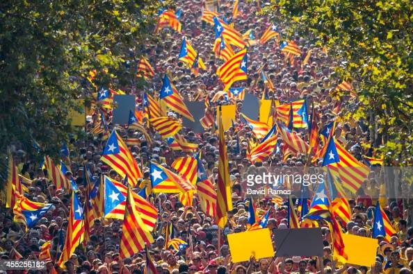 Demonstrators wave ProIndependence Cartalan flags during a demostration as part of the celebrations of the National Day of Catalonia on September 11...