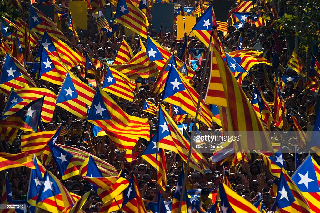 Demonstrators wave ProIndependence Catalan flags during a demonstration as part of the celebrations of the National Day of Catalonia on September 11...