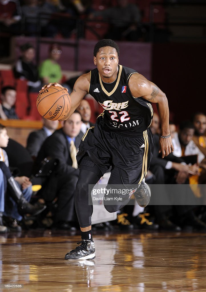 Demonte Harper #22 of the Erie BayHawks brings the ball up the court against the Canton Charge at the Canton Memorial Civic Center on January 30, 2013 in Canton, Ohio.