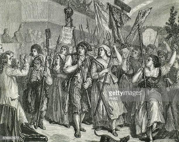 Demostration of 20 June 1792 French Revolution SansCulottes entering Legislative Assembly Engraving