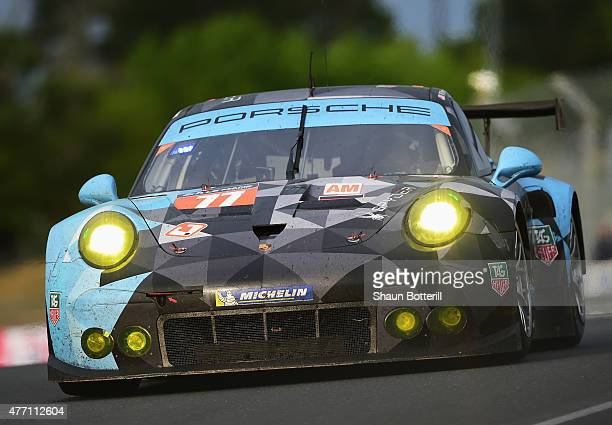 DempseyProton Racing driven by Patrick Demsey Patrick Long and Marco Seefried during the Le Mans 24 Hour race at the Circuit de la Sarthe on June 13...