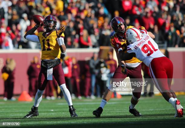 Demry Croft of the Minnesota Golden Gophers looks for an open receiver in the second quarter against the Nebraska Cornhuskers at TCF Bank Stadium on...