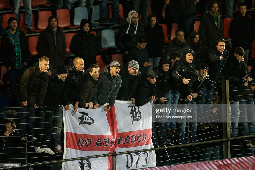 Den Bosch fans stop the game with their chants during the KNVB Dutch Cup match between FC Den Bosch and AZ Alkmaar at BrainWash Stadion De Vliert on January 29, 2013 in Bosch, Netherlands.