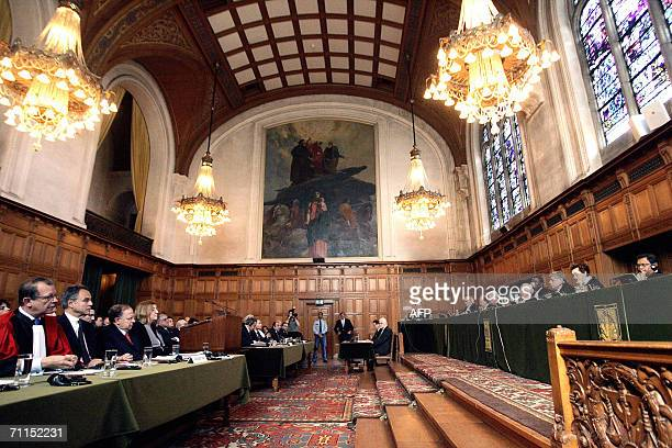 A general view taken 08 June 2006 shows the opening of a hearing at the International Court of Justice in The Hague which is examining a claim from...