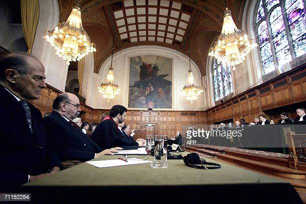 A general view taken 08 June 2006 shows the opening of a public hearing at the International Court of Justice in The Hague which is examining a claim...