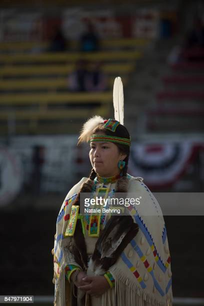 Denae Smith of the Yakama Nation takes part in a tribal ceremonial dancing competition at the Pendleton RoundUp on September 16 2017 in Pendleton...