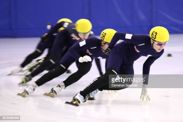 Denali Blunden of Australia leads during the Australian World Cup Short Track Trials on July 27 2017 at Canterbury Olympic Ice Rink in Sydney...