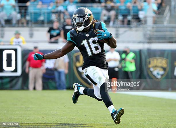 Denard Robinson of the Jacksonville Jaguars runs for yardage during the game against the Indianapolis Colts at EverBank Field on December 13 2015 in...