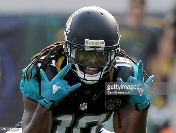 Denard Robinson of the Jacksonville Jaguars smiles after a reception and first down during the game against the Indianapolis Colts at EverBank Field...