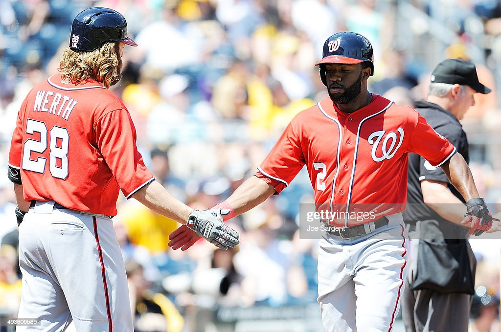 Denard Span #2 celebrates with Jayson Werth #28 of the Washington Nationals after scoring a triple by Anthony Rendon #6 (not pictured) during the fifth inning against the Pittsburgh Pirates on May 25, 2014 at PNC Park in Pittsburgh, Pennsylvania.