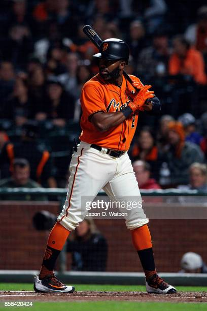 Denard Span of the San Francisco Giants at bat against the San Diego Padres during the first inning at ATT Park on September 29 2017 in San Francisco...