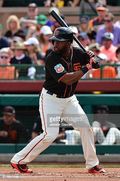 Denard Span of the San Francisco Giants at bat against the Seattle Mariners during the spring training game at Scottsdale Stadium on March 11 2016 in...