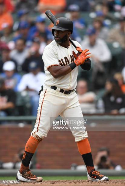 Denard Span of the San Francisco Giants bats against the Chicago Cubs in the bottom of the fourth inning at ATT Park on August 9 2017 in San...