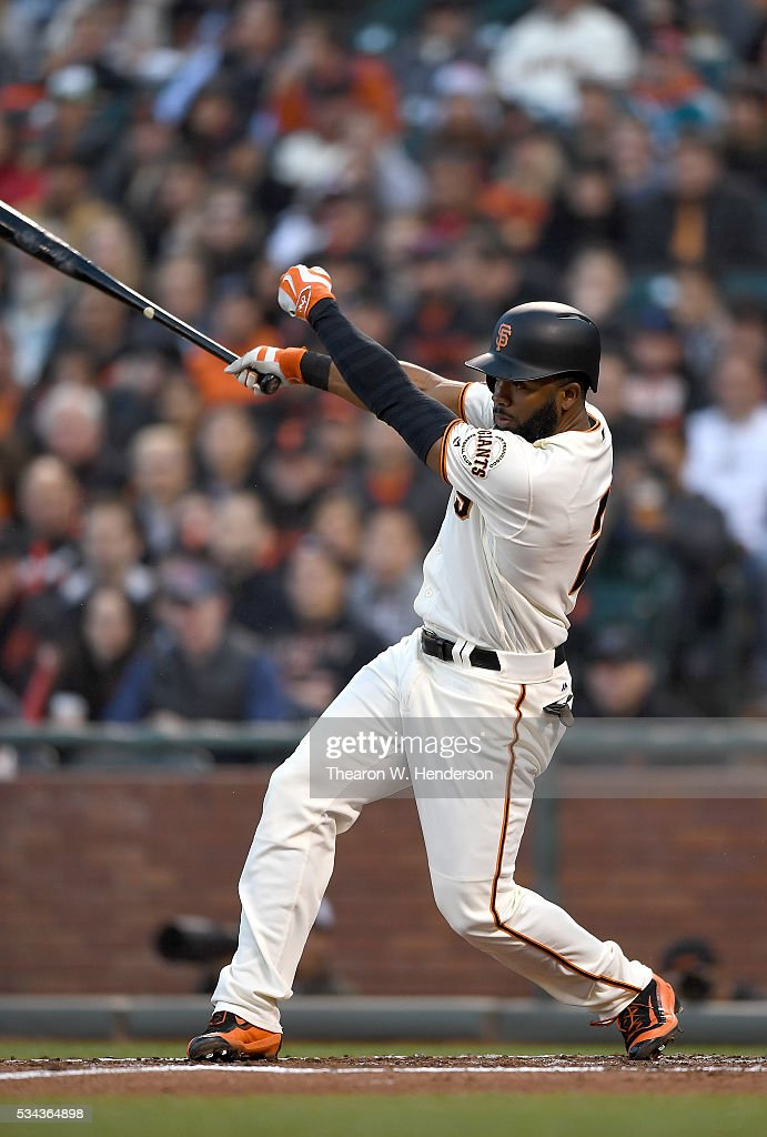 <a gi-track='captionPersonalityLinkClicked' href=/galleries/search?phrase=Denard+Span&family=editorial&specificpeople=835844 ng-click='$event.stopPropagation()'>Denard Span</a> #2 of the San Francisco Giants bats against the San Diego Padres in the bottom of the third inning at AT&T Park on May 23, 2016 in San Francisco, California.