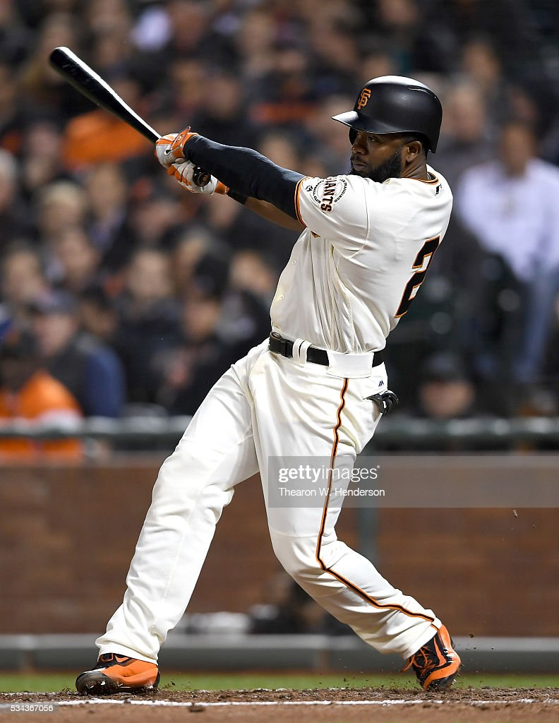 <a gi-track='captionPersonalityLinkClicked' href=/galleries/search?phrase=Denard+Span&family=editorial&specificpeople=835844 ng-click='$event.stopPropagation()'>Denard Span</a> #2 of the San Francisco Giants bats against the San Diego Padres in the bottom of the fifth inning at AT&T Park on May 23, 2016 in San Francisco, California.