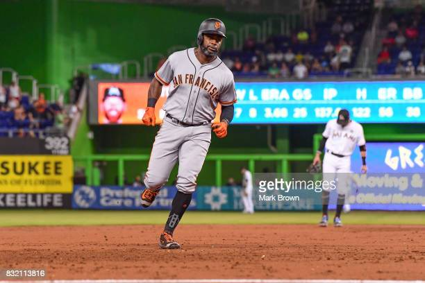 Denard Span of the San Francisco Giants hits a homerun in the third inning during the game between the Miami Marlins and the San Francisco Giants at...