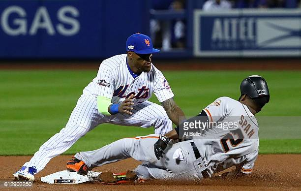 Denard Span of the San Francisco Giants is caught stealing at second by Jose Reyes of the New York Mets in the fourth inning during their National...