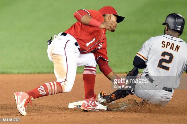 Denard Span of the San Francisco Giants is tagged out trying to steal second base in the sixth innning by Wilmer Difo of the Washington Nationals...