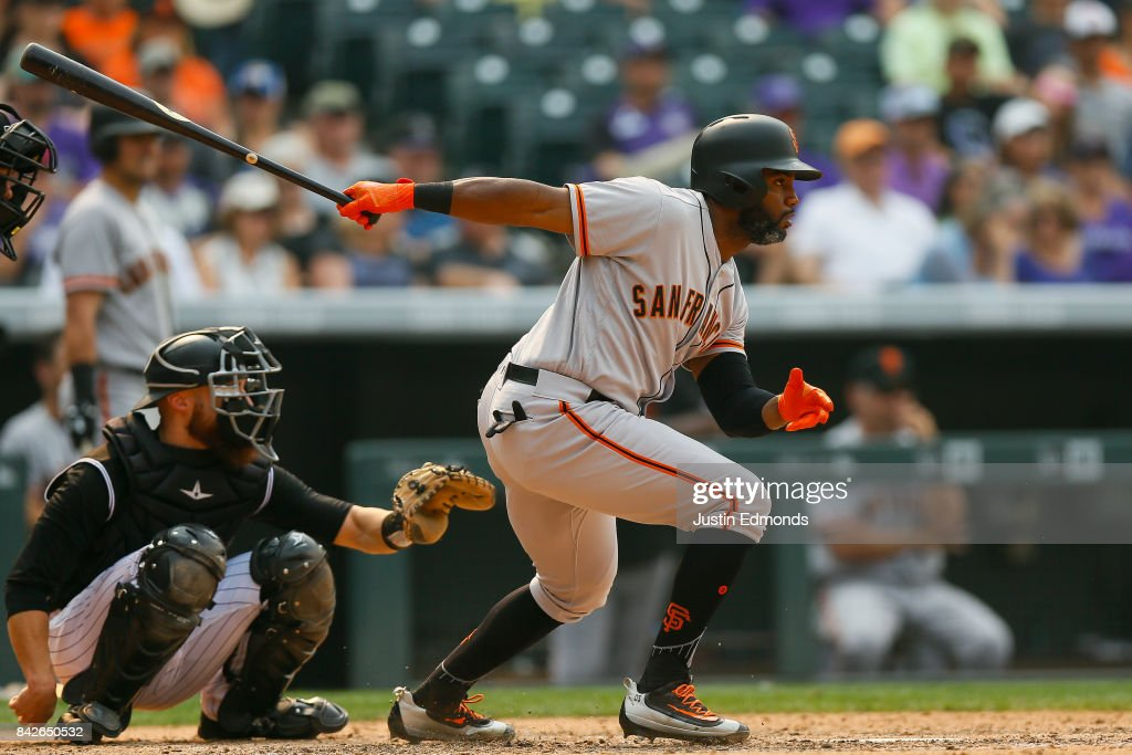 Denard Span #2 of the San Francisco Giants singles during the eighth inning against the Colorado Rockies at Coors Field on September 4, 2017 in Denver, Colorado. The Rockies defeated the Giants 4-3.