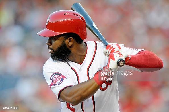 Denard Span of the Washington Nationals bats against the San Diego Padres at Nationals Park on August 25 2015 in Washington DC