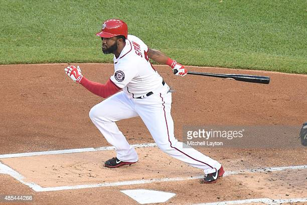 Denard Span of the Washington Nationals bats against the San Diego Padres at Nationals Park on August 25 2015 in Washington DC The Nationals won 83
