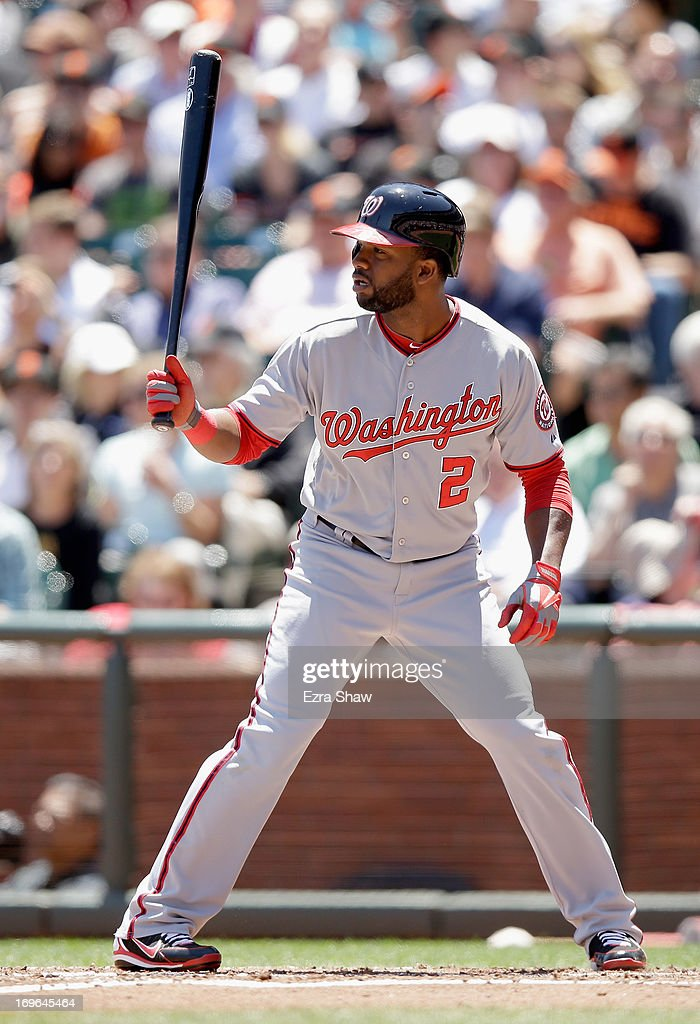 <a gi-track='captionPersonalityLinkClicked' href=/galleries/search?phrase=Denard+Span&family=editorial&specificpeople=835844 ng-click='$event.stopPropagation()'>Denard Span</a> #2 of the Washington Nationals bats against the San Francisco Giants at AT&T Park on May 22, 2013 in San Francisco, California.