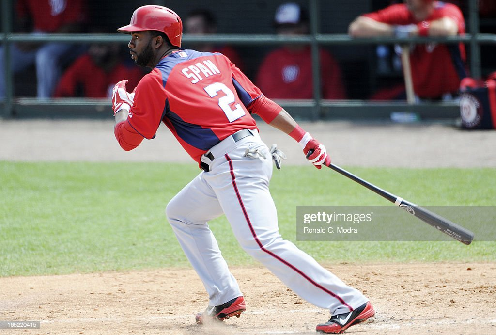 Denard Span #2 of the Washington Nationals bats during a spring training game against the Miami Marlins at Roger Dean Stadium on March 26, 3012 in Jupiter, Florida.