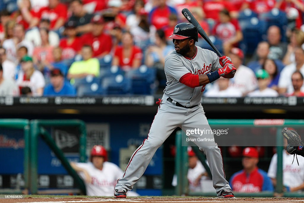 <a gi-track='captionPersonalityLinkClicked' href=/galleries/search?phrase=Denard+Span&family=editorial&specificpeople=835844 ng-click='$event.stopPropagation()'>Denard Span</a> #2 of the Washington Nationals bats during the game against the Philadelphia Phillies at Citizens Bank Park on July 11, 2013 in Philadelphia, Pennsylvania. The Phillies won 3-1. (Photo by Brian Garfinkel/Getty Images) ~~~