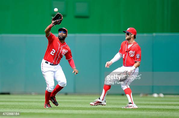Denard Span of the Washington Nationals catches a fly ball bit by David Buchanan of the Philadelphia Phillies in the third inning at Nationals Park...
