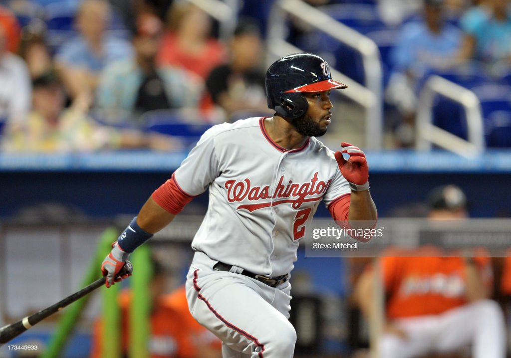 Denard Span #2 of the Washington Nationals connects for an RBI double during the second inning against the Miami Marlins at Marlins Park on July 14, 2013 in Miami, Florida.