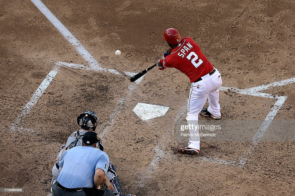 <a gi-track='captionPersonalityLinkClicked' href=/galleries/search?phrase=Denard+Span&family=editorial&specificpeople=835844 ng-click='$event.stopPropagation()'>Denard Span</a> #2 of the Washington Nationals hits a single in the fifth inning during a game against the San Diego Padres at Nationals Park on July 6, 2013 in Washington, DC.