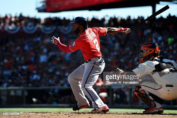 Denard Span of the Washington Nationals hits a single in the third inning against the San Francisco Giants during Game Three of the National League...