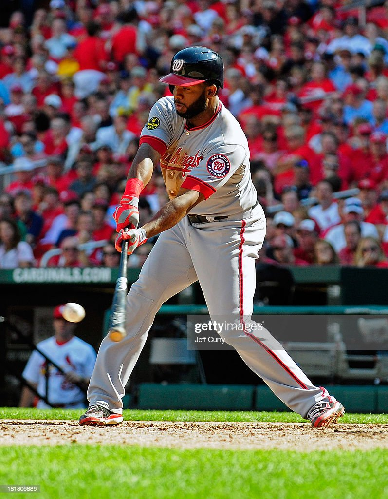 <a gi-track='captionPersonalityLinkClicked' href=/galleries/search?phrase=Denard+Span&family=editorial&specificpeople=835844 ng-click='$event.stopPropagation()'>Denard Span</a> #2 of the Washington Nationals hits a single off of Kevin Siegrist #46 of the St. Louis Cardinals during the eighth inning at Busch Stadium on September 25, 2013 in St. Louis, Missouri. The Cardinals won 4-1 to sweep the Nationals.