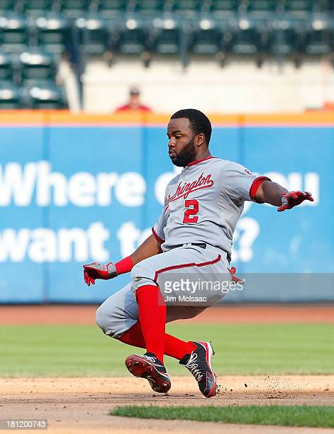 Denard Span of the Washington Nationals in action against the New York Mets at Citi Field on September 12 2013 in the Flushing neighborhood of the...