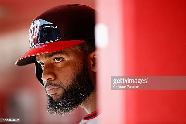 Denard Span of the Washington Nationals in the dugout during the MLB game against the Arizona Diamondbacks at Chase Field on May 13 2015 in Phoenix...