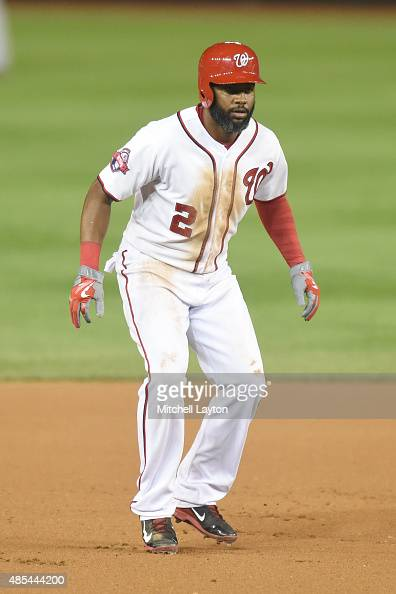 Denard Span of the Washington Nationals lead off second base during the game against the San Diego Padres at Nationals Park on August 25 2015 in...