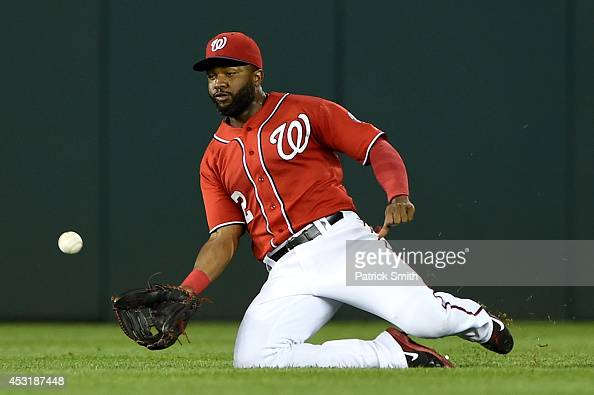 Denard Span of the Washington Nationals makes a catch on Nelson Cruz of the Baltimore Orioles in the sixth inning at Nationals Park on August 4 2014...