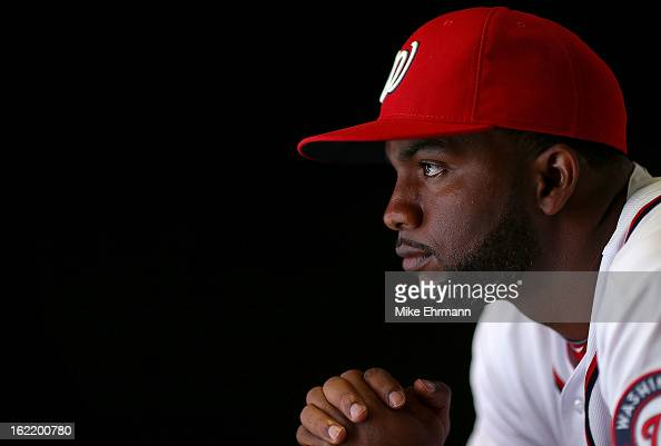 Denard Span of the Washington Nationals poses for a portrait during photo day at Space Coast Stadium on February 20 2013 in Viera Florida
