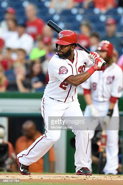 Denard Span of the Washington Nationals prepares for a pitch during a baseball game against the San Diego Padres at Nationals Park on August 26 2015...