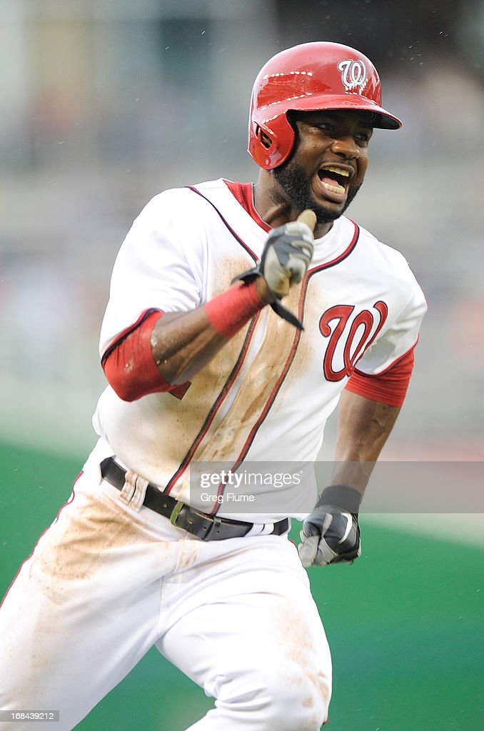 <a gi-track='captionPersonalityLinkClicked' href=/galleries/search?phrase=Denard+Span&family=editorial&specificpeople=835844 ng-click='$event.stopPropagation()'>Denard Span</a> #2 of the Washington Nationals rounds third base and scores in the second inning against the Detroit Tigers at Nationals Park on May 9, 2013 in Washington, DC.