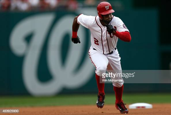 Denard Span of the Washington Nationals runs to third base against the Arizona Diamondbacks in the first inning at Nationals Park on August 21 2014...