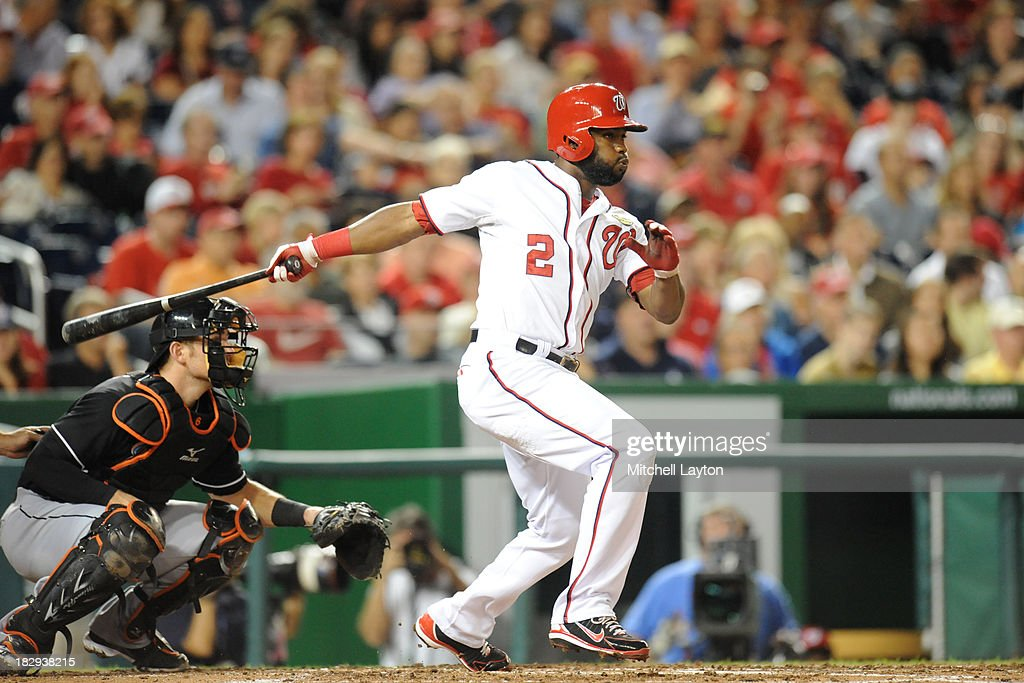 <a gi-track='captionPersonalityLinkClicked' href=/galleries/search?phrase=Denard+Span&family=editorial&specificpeople=835844 ng-click='$event.stopPropagation()'>Denard Span</a> #2 of the Washington Nationals takes a swing during a baseball game against the Miami Marlins on September 20, 2013 at Nationals Park in Washington, DC. The Nationals won 8-0.