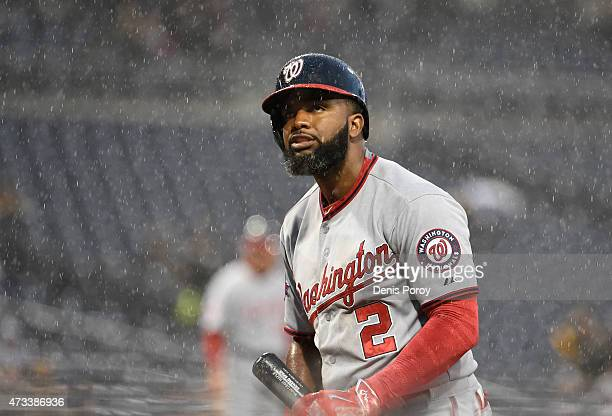 Denard Span of the Washington Nationals walks away after striking out during the first inning of a baseball game against the San Diego Padres at...