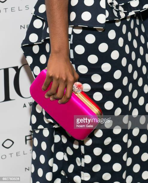 Denee Benton purse detail attends the 2017 Tony Honors cocktail party at Sofitel Hotel on June 5 2017 in New York City