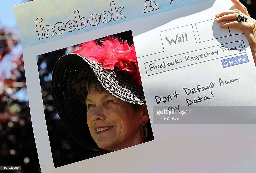 Denely Rafferty of the group Raging Grannies holds a sign depicting a Facebook page as she protests outside of the Facebook headquarters June 4, 2010 in Palo Alto, California. The group was calling for the FTC to investigate FaceBook's privacy policies.