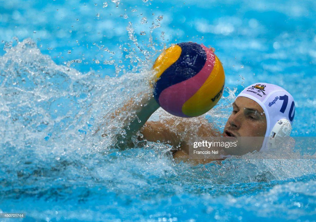 Denes Andor Varga of Hungary in action during the Fina Men's Water Polo World League Super Final Group Match between Hungary and Australia at the Hamdan Sports Complex on June 16, 2014 in Dubai, United Arab Emirates.