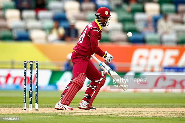 Denesh Ramdin of West Indies bats during the 2015 ICC Cricket World Cup match between the West Indies and United Arab Emirates at McLean Park on...