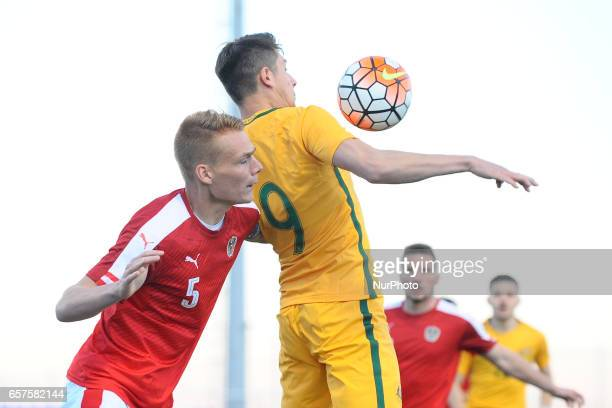 Deni Juric Philipp Lienhart during the friendly match of national teams U21 of Austria vs Australia in Pinatar Arena Murcia SPAIN March 24rd 2017
