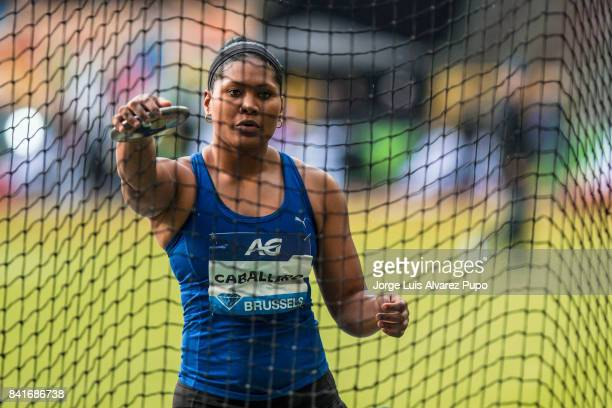 Denia Caballero of Cuba competes in women's Discus Throw during the AG Insurance Memorial Van Damme as part of the IAAF Diamond League 2017 in King...